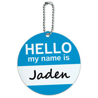 Jaden Hello My Name Is Round ID Card Luggage Tag
