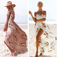 Fashion  Flower Print Backless Off Shoulder Short Sleeve Split Maxi Dress