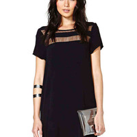 Black Short Sleeve Shift Mini Dress with Mesh Accent