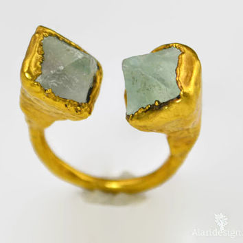 Natural Green Fluorite Octahedron Crystal Ring  / Size 8.25  / Termanated Crystal  / Electroformed  / 24kt Gold  / Cuff Ring / Hand Crafted