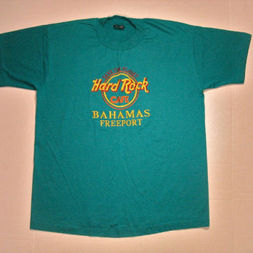 90s Hard Rock Cafe T Shirt Freeport Bahamas embroidered logo M/L turquoise blue tourist tee