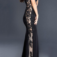 Black Label Couture 24 Cap Sleeve Evening Gown Prom Dress Nude Side Panels
