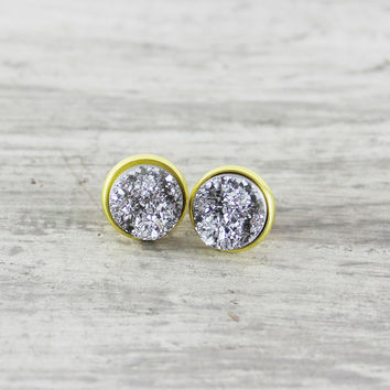 Gold Stud Earrings, Faux Druzy Earrings, Silver Druzy Earrings, Druzy Stud Earrings, Small Stud Earrings, Resin Cabochon Earrings