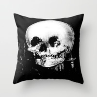 All Is Vanity: Halloween Life, Death, and Existence Throw Pillow by Taiche