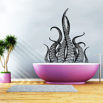 Wall Decal Vinyl Sticker Decals Art Home Decor Design Murals Octopus Tentacles Poulpe Delfish Fish Deep Sea Ocean Bedroom Bathroom AN649