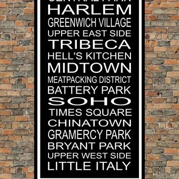 New York City Subway Sign Print - Central Park, Harlem, Tribeca, Battery Park, Chinatown, Little Italy