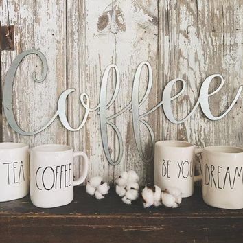"Large ""Coffee"" Silver Galvanized Metal Script Sign"
