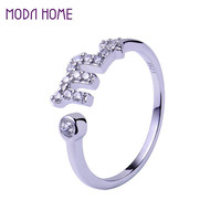 925 Sterling Silver Rings Men Lovers 12 Zodiac Star Signs Horoscope Shaped Adjustable Open Ring Jewelry SM6