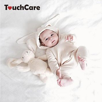 Baby Boys Girls Cute Rabbit Ear Hooded Romper Newborn Long Sleeve Bunny Infant Animal Jumpsuit Costume Toddler Clothing