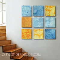 Huge  -Ready now -Abstract Painting / ORIGINAL 9 square ( 45 x 45 Inch) Painting / Orange, Yellow, blue, white