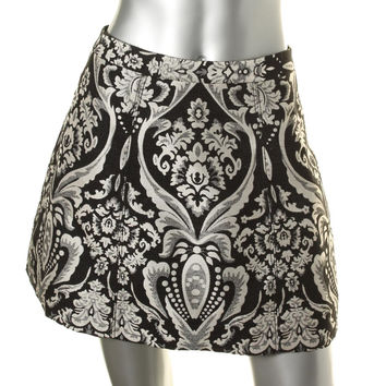 Alice + Olivia Womens Loran Brocade Textured A-Line Skirt