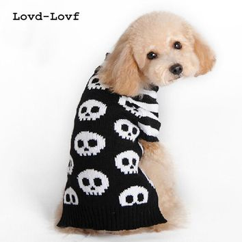 Skull print Pet Dog Puppy High Collar Clothes Outwear Sweater for small dogs