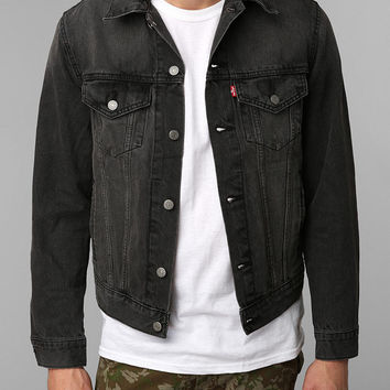 Levis Washed Black Denim Trucker Jacket