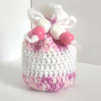 Pink dice bag, Small Coin Purse, Pink and White, Girls Coin Purse, Token bag, Drawstring Bag, Crocheted Pouch, Girls Dice Bag, Yarn Bag