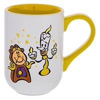 Disney Parks Lumiere & Cogsworth Cartoon Cuties Ceramic Coffee Mug New