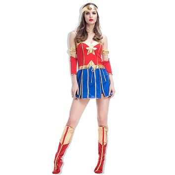 Adult Wonder Woman Costume Supergirl Fancy Dress Sexy Women's DC Comics Superhero Costume Halloween Party Dress Outfit