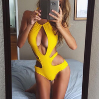 Solid Color Irregular One Piece Swimwear Bikini Swimsuit