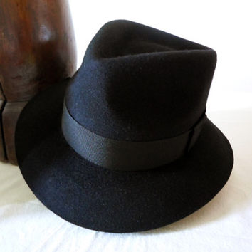 Black Fur Felt Fedora - Wide Brim Beaver Fur Felt Blend Handmade Fedora Hat - Men Women