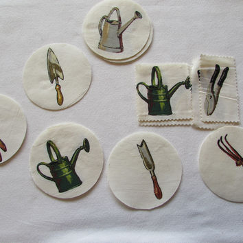 Vintage Gardening Tools Fabric Patches