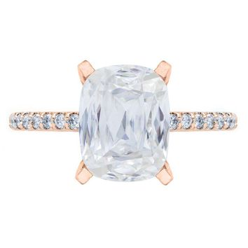 **NEW Criss Cut Cushion Heirloom Moissanite 4 Prongs Diamond Accent Ice Solitaire Ring