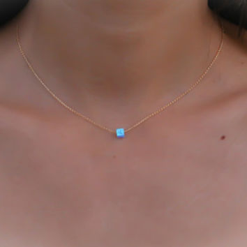 Opal necklace, blue opal necklace, opal jewelry, opal gold necklace, gold filled tiny dot necklace, opal bead necklace