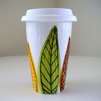 Ceramic Travel Mug Leaves Modern Woodland Painted Greens Yellow Orange Brown Nature - MADE TO ORDER