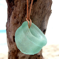 Hawaiian Gorgeous & Rare Melted Bright Aqua Antique Bottle Mouth Beach Glass on Genuine India Leather LONG Necklace