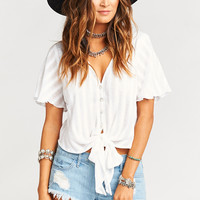 Tortuga Tie Top ~ White Toluca Stripe