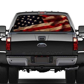American Flag Vintage Rear Window Graphic Decal Sticker Car Truck SUV Van