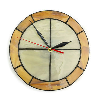 Wall clock made of stained glass - Simple, modern, functional and unique art in ivory and wood brown colors - Wall decor for home for office