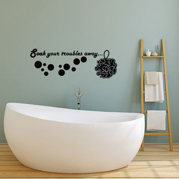 Vinyl Wall Decal Quote Bathroom Shower Room Inspiration Art Relax Stickers Mural (ig5224 22.5 in X 8 in)