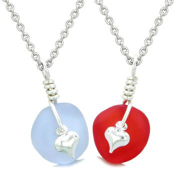 Twisted Twincies Heart Small Sea Glass Lucky Charm Love Couples BFF Set Pastel Purple Royal Red Necklaces