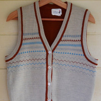 Vintage Men's Sweater Vest by Trissi V Neck Button Up Sweater Vest