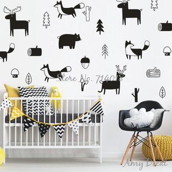 Woodland Nursery Wall Stickers, Cute Animals Tree Forest Vinyl Wall Sticker for Kids Room Bedroom Decor Christmas Wall Art A733