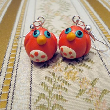 Red bird earrings unique handmade from red polymer by NellinShoppi