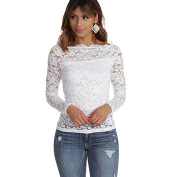 White Cover Me In Lace Top