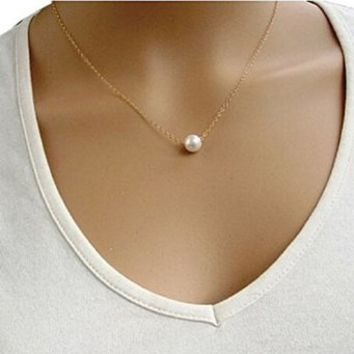 Vogue Women Girls Imitate Pearl Bib Choker Statement Collar Necklace Gold