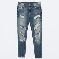 VINTAGE WASH RIPPED CIGARETTE JEANS