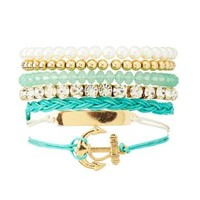 Anchor & ID Bracelets - 7 Pack by Charlotte Russe - Mint