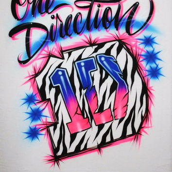 Airbrush T Shirt One Direction Logo Zebra Stripes, Airbrush One Direction Shirt, One Direction Shirt, One Direction, Zebra Shirt, Airbrush