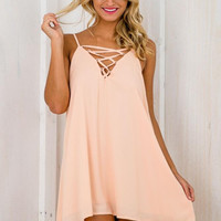 Pink Strappy V-Neck Sleeveless Dress