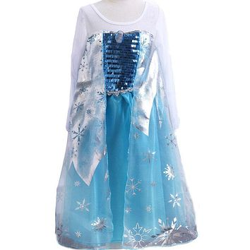 Summer style Baby Girls Dresses Princess Fever anna elsa dress Cosplay costume Kids cartoon girl dresses for children