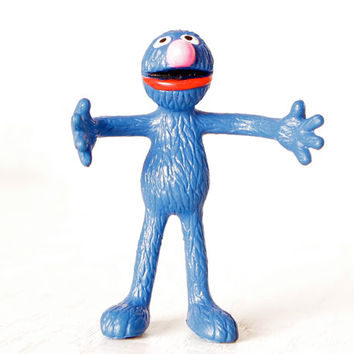 Vintage Sesame Street Grover Figurine, Grover Monster, Muppets Toy