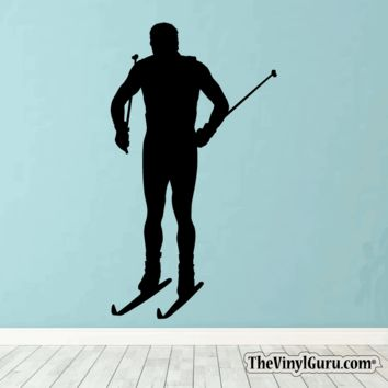 Skiing Wall Decal - Ski Sticker #00017
