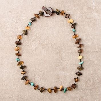 Amber and Turquoise Nugget Necklace - 16 Inch