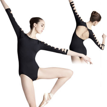 Sexy Backless Unitard Adult Girl Black 3 4 Long Sleeve Dance Practice Leotard Cotton Spandex Gymnastic Ballet Leotards For Women
