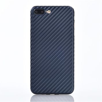 Synthetic Fiber Phone Case For iPhone 7 Plus iPhone 8Plus Carbon Fiber PP TPU Back Cover Case Protection Mobile Phone Shell