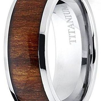 CERTIFIED 8mm Titanium Ring Wedding Band, Engagement Ring with Real Wood Inlay, Comfort Fit