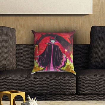 Maleficent Red Dragon Pillow Cover , Custom Zippered Pillow Case One Side Two SIde