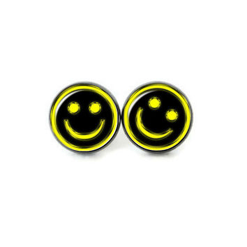 Smiley Face Stud Earrings, Grunge 90s Style Smiley, Black Yellow, Happy